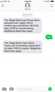 Fraud Alert Activation Text