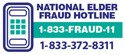National Elder Fraud Hotline 1-833-372-8311